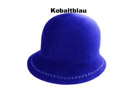 Hut und Robe Cloche mit Stickerei 100% Haar blau