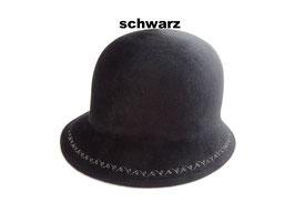 Hut und Robe Cloche mit Stickerei 100% Haar. Scharz