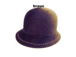 Hut und Robe Cloche mit Stickerei 100% Haar braun