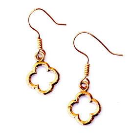 Pera Ohrringe Paar Vierpass Bronze. Maße etwa 4x1,5cm.  Ohrhaken inclusive. Paar.