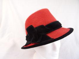 Hut und Robe Trilby rot 100% Haar und Baumwollsamt