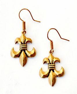Pera Paar Ohrringe Fleur de Lys - Lilie Bronze