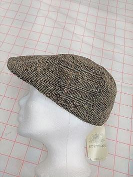 Stetson Flatcap Fischgrat braun Tweed 100% Wolle, Futter 100% Baumwolle