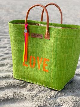 BUNTE BAG BIG GREEN mit LOVE in NEONORANGE (Bändchen, oder Bommel separat bestellen)