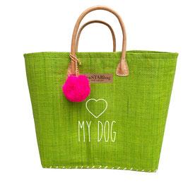 Grüner Korb mit LOVE (HERZ) MY DOG