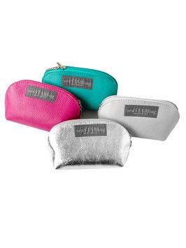 Kleine Kosmetiktäschchen aus Leder in 5 Farben.