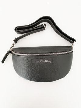 CROSSBODY-BAG in GREY mit Lederriemen - wahlweise in BIG, oder SMALL