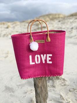 BUNTE BAG BIG PINK mit LOVE und Bommel in WEISS