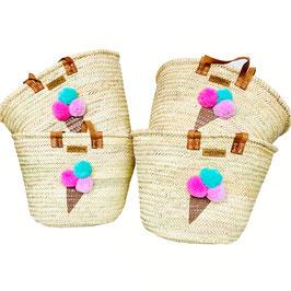 Korbtasche mit Eistüte und Bommeln