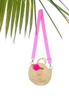 SMALL ROUND BAG mit Tragegurt in PINK