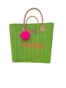BUNTE BAG BIG GREEN mit HAPPY und Bommel in NEONPINK