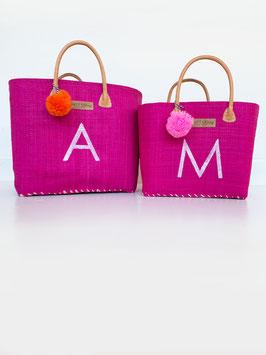 BUNTE BAG SMALL oder BIG in PINK mit BUCHSTABE und Bommel in ROSA/ORANGE.