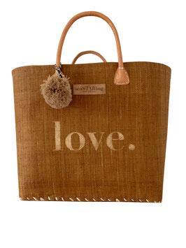 BUNTE BAG BIG BROWN mit LOVE in GOLD und Bommel in CAPPUCCINO