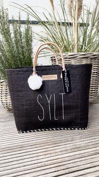 BUNTE BAGS BIG BLACK mit dünn SYLT und Bommel in WEISS