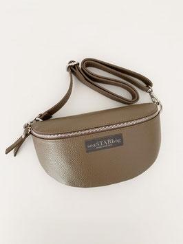CROSSBODY-BAG TAUPE mit Lederriemen - wahlweise in BIG, oder SMALL