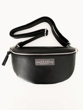 CROSSBODY-BAG BLACK mit Lederriemen - wahlweise in BIG, oder SMALL