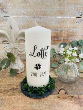 Personalisierte Gedenkkerze *Lotte* Trauerkerze für euren Hund mit Hundetatze Herz Namen & Daten