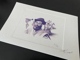 """Prova de artista """"Fernão de Magalhães"""" numerada e assinada"""