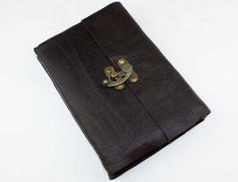 Lederbuch, Tagebuch, Notizbuch, schwarz, schlicht, Hakenverschluss, 007