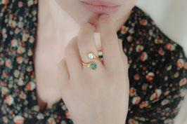 Fingerring mit Boulder Opal und Süßwasserperle, 514G