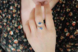 Ring Fingerring Silber 935 mit zwei Saphiren 532S