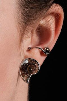 Ohrring Ohrklemme Silber Ammonit dunkle Perle 808S