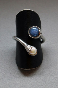 Ring Fingerring Silber Sternsaphir und Perle 525S