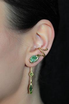 Ohrring mit Anhänger, Silber vergoldet - Chromdiopsid (Rohstein) und Peridot 611G