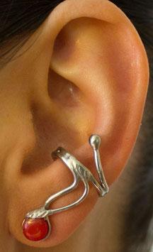 Ohrring mit runder Baumkoralle (7mm), 412S