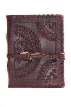 Lederbuch, Tagebuch, Notizbuch, Musterprint, 010