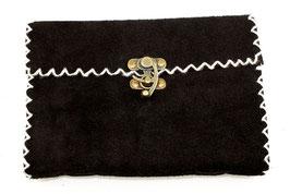 Lederbuch, Tagebuch, Notizbuch, schwarz mit weißer Ziernaht, 008