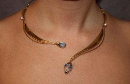 Halsschmuck Collier Silber vergoldet Mondstein und Perle 1007G