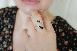 Fingerring - schwarzer Turmalin, Silber, 535S