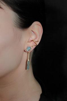 Ohrring ohne Ohrloch mit abnehmbarem Anhänger Silber vergoldet Aquamarin 610G