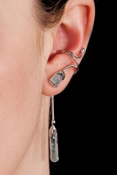Ohrring ohne Ohrloch mit Anhänger Silber Aquamarin 607S