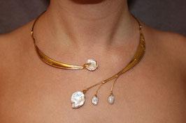 Halsschmuck Collier Silber vergoldet Keshiperlen 1001G