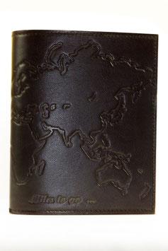"""Lederbuch, Notizbuch, Tagebuch, Motiv """"Welt"""", 0121"""