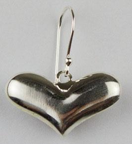 Silberohrringe - Massives Herz, 925er Silber, 746S