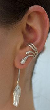 Vierdrahtcreole ohne Ohrloch Silber mit weißer Süßwasserperle und Anhänger mit weißer Biwa-Perle, 604S