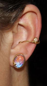 Ohrring Silber vergoldet mit großem Regenbogen-Labradorit als Cabochon 804G