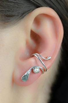 Ohrring mit facettiertem Apatit und Süßwasserperle, 414S