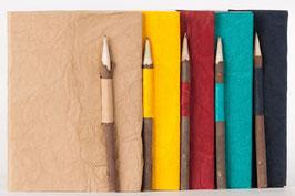 Notiz- /Tagebuch, verschiedene Farben, mit Holzbleistift, 0046a-g