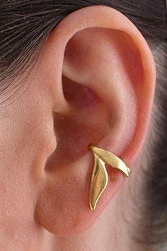 Ohrring Ohrklemme Zweiblattcreole Silber vergoldet 207G