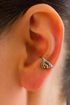 Kleiner Ohrring ohne Ohrloch Silber mit dunkler Süßwasserperle (bronzefarben), 119S