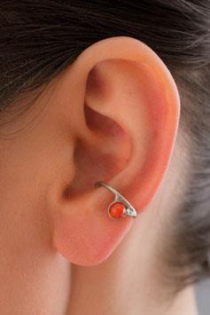 Klein Ohrring mit orange-rotem Achat, 111S