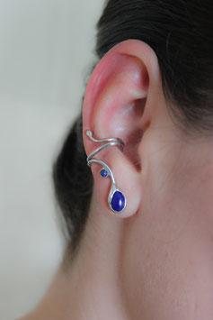 Ohrklemme mit Lapis Lazuli-Cabochon, Silber 935, ohne Ohrloch tragbar, handgefertigt 415S