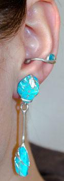 Ohrring mit Anhänger - Arizona-Türkis (getrommelter Rohstein) 907S