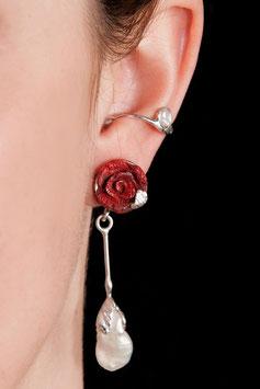 Ohrring mit Anhänger - Schaumkoralle (Rose), Perle 911S