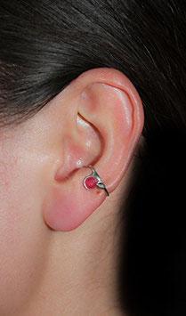 Klein Ohrring mit rosa-rotem Achat, 112S