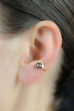 Kleiner Ohrring ohne Ohrloch Silber vergoldet mit dunkler Süßwasserperle (bronzefarben), 119G